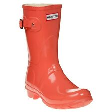 New Womens Hunter Red Pink Original Short Gloss Rubber Boots Mid-Calf Pull On