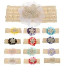 Cute Baby Girls Lace Flower Headband Cotton Kids Hair Band Toddler Bow Headwear