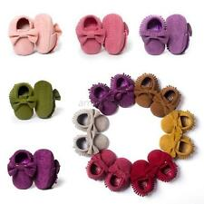 Cute Boys Girls Baby Shoes Infant Toddler Tassel Leather Cotton Moccasin 0-18M