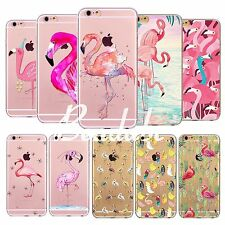 Rubber Flamingos Bird Soft TPU Printed Case Cover For iPhone 4S 5S SE 5C 6S Plus
