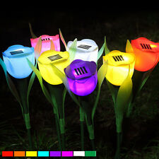 Outdoor Solar Powered Tulip Flower Light Yard Garden Path Way Landscape LED Lamp
