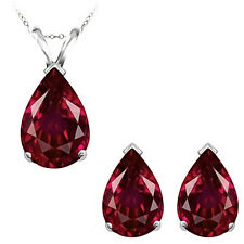 8x5mm Pear CZ Ruby Birthstone Gemstone Pendant Earring Set 14K White Yellow Gold