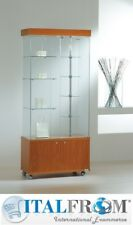 Glass showcase display with rotating shelves lights and cabinet H187x77x40