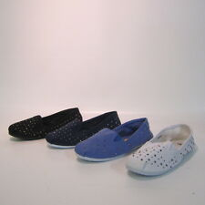 Ladies Spot on slip on studded canvas shoes F8956