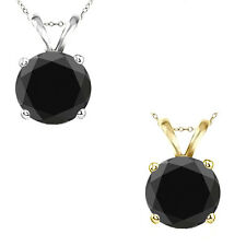 9mm Round Black Cubic Zirconia Solitaire Pendant Necklace 14K White Yellow Gold