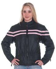 Womens New Black Pink Armored Leather Motorcycle Jacket Zip out lining M, XL