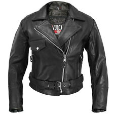 Womens XLARGE Black Vulcan Leather Motorcycle Biker Jacket Zip out lining Size