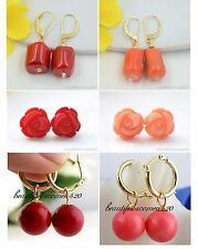 X0235 beautiful nature round coral earring