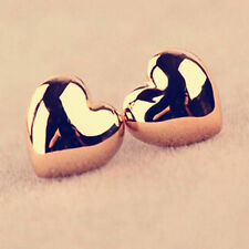 Charm 1 Pair Women Lady Heart Silver/Rose Gold Plated Ear Stud Earrings CHI