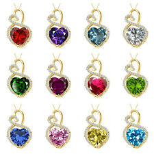 """10mm Heart Select Birth Gem Stone Solitaire Pendant + 18"""" Chain 14K Yellow Gold"""