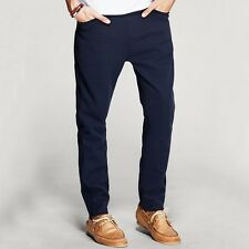 28 29 30 31 32 33 34 Mens Casual Pants Slim Skinny Stretchy Pants/Trousers Blue
