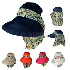Womens Face Protective Flower Wide Brim Visor Hat Sun Beach Foldable Cap Outdoor