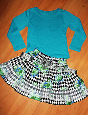 GIRLS TOP & BLUE FLORAL HALEQUIN PRINT LACE TRIM RUFFLE PARTY SKIRT with BELT