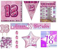 18th Birthday/Age 18 - PINK/GIRL Party Items Decorations Tableware - Large Range