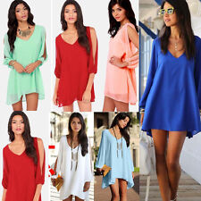 New Women Summer V-Neck Long Sleeve Loose Evening Cocktail Party Chiffon Dress