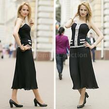 Womens Wide Leg Long Pants Casual High Waist Pant Loose Culottes Trouser R2A6