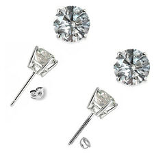 1 Carat G-H SI1 Round Diamond Basket Men's Single Stud Earring 14K White Gold