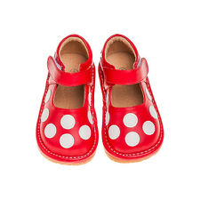 Girls Red with White Polka Dots Leather Squeaky Shoes Toddler Size 1-7