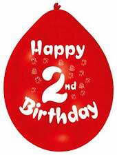 "Happy 2nd Birthday 9"" Party Balloons Colour CHOOSE YOUR QUANTITY"