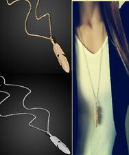 Sweater Vintage Women Feather Pendant Long Chain Necklace Statement Jewelry CHI