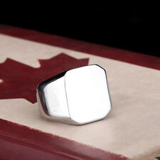 Fashion Jewelry Mens Womens Smooth Square 316L Stainless Steel Ring Sz 7-13