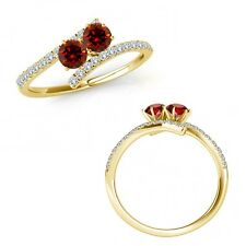 0.75 Ct Red Diamond 2 Two Stone By Pass Eternity Wedding Ring 14K Yellow Gold