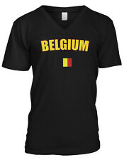 Belgium Country Flag Pride Brussels Europe Black Yellow Red Mens V-neck T-shirt