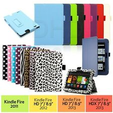 """PU Leather Folio Case Cover Stand For Amazon Kindle Fire HD 7"""" NEW HDX 7& 8.9"""
