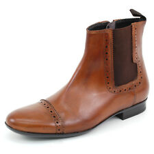 Mens Chelsea Boots Dressy Ankle Stretch Gore Side Zipper Genuine Leather Cap Toe