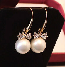 1 Pair Women Lady Elegant Pearl Crystal Rhinestone Ear Stud Earrings Gift