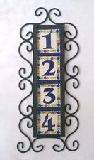 4 Mexican Tiles Talavera House Numbers & Vertical Iron Frame