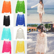 Elegant Women Soild Sheer Embroidery Floral Lace Crochet Tee Shirt Top Blouse