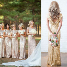 Fashion Champagne Sequin Long Backless Cocktail Party Wedding Bridesmaid Dress