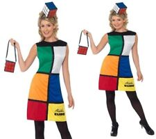1980s Ladies Rubiks Cube Fancy Dress Costume Retro Sizes 8-18