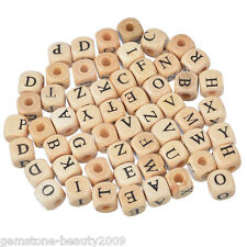 Wholesale HOT Mixed Natural Color Cube Alphabets Letter Wood Beads Jewelry 10mm