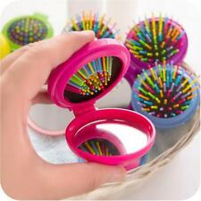 2Pcs Folding Hair Brush With Mirror Compact Pocket Size Travel Car For Purse Bag
