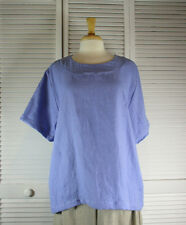 Spa S/S Flax Linen Top in 15 Colors (Sizes1X 2X 3X 4X ) by Blue Fish Red Moon
