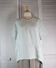 Array Flax Linen Top in 15 Colors (Sizes 1X 2X 3X 4X )  by Blue Fish Red Moon