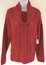 New! 89th & Madison Red Cowl Neck Cable Knit Sweater Top Women's Sz XL