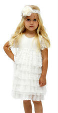 Designer Kidz  Baby Girl's cream Layered Angelique Lace Dress Sizes 00 & 0  New