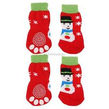 XMAS Snowman Pet Dog Puppy Cat Socks with Cute Paw Prints indoor Shoes S--XL