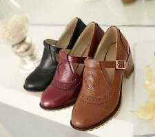 New Womens Girls Retro Brogue Cuban Heel Mary Jane Faux Leather Shoes Roma