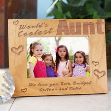 Personalized Worlds Coolest Picture Frame Engraved Wood Aunt Photo Frame Gift