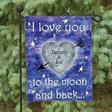 Personalized Couples I Love You to The Moon and Back Garden Flag Yard Decor