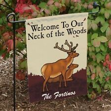 Personalized Welcome to Our Neck of the Woods Garden Flag Family Name Yard Flag