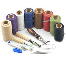 7 sets Hand Stitching DIY Sewing Tool Kit Thread Awl Waxed Thimble Leather Carft