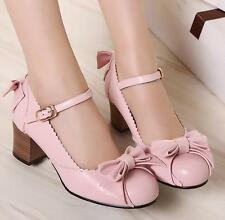 Womens Lolita Kitten Heels Dress Block Pumps Ankle Strap Casual Shoes Court