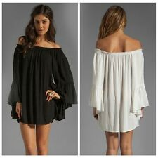 Vogue Boho Women Ruffle Chiffon Off Shoulder Mini Dress Tunic Summer Beach Dress