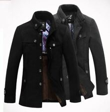 Mens Classic Casual Wool Jackets Pea Coat Winter Warm Trench Overcoat Outwear