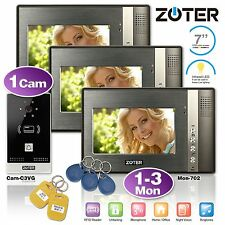 """Wired 7"""" LCD Color Video Door Phone HD Camera RFID Entry System 1-3 Unit"""